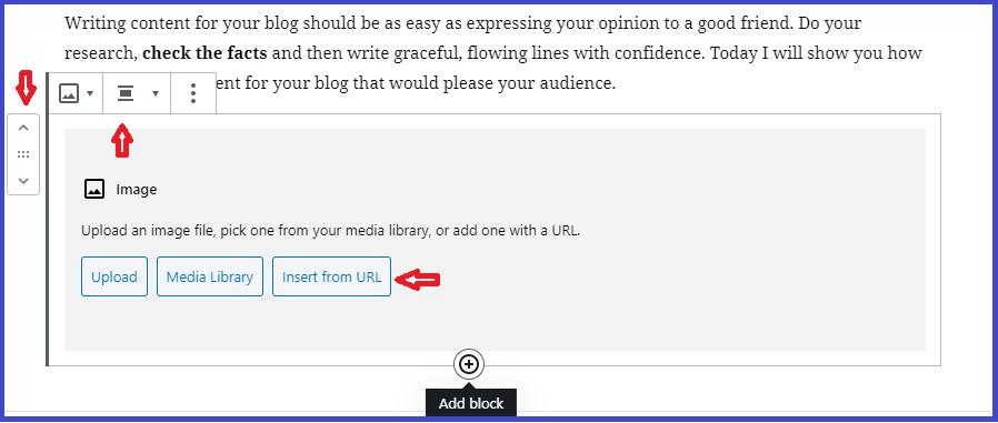 how to use gutenberg editor in wordpress-screenshot-add-image