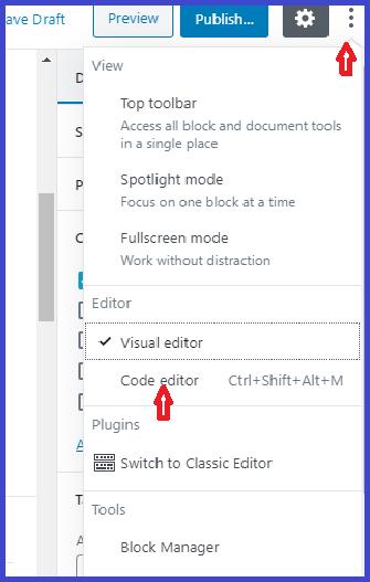 how to use gutenberg editor in wordpress-screenshot-html editor